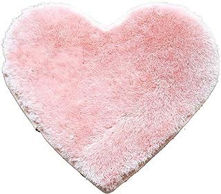 EMVANV Alfombrilla de baño Absorbente de Alfombra con Forma de corazón Antideslizante para el Suelo o la bañera, Alfombra para la Zona de la Cama, Rosa, Tamaño Libre