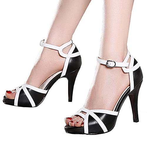 a44f94e93fa6 getmorebeauty Women s White Black Peep Toes Buckle Dress Heeled Sandals