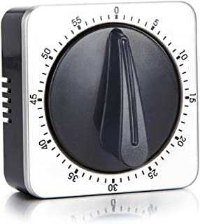 Kitchen Timer with 80dB Alarm Sound Magnetic Countdown Timer,Home Cooking Baking Washing Steaming Manual Timer,Stainless Steel Face Mechanical Timer