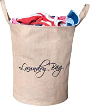 A&A Bags Jute Laundry Bag/Basket for Dirty Clothes, Folding Round Laundry Bag (Ivory)