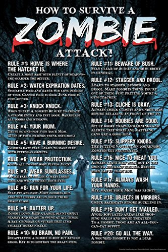 How to Survive A Zombie Attack Rules Guide Horror Movie Spooky Scary Halloween Decorations Cool Wall Decor Art Print Poster 24x36