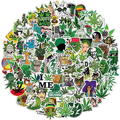 100 pegatinas de vinilo Marihuana para adultos, portátiles, pegatinas para botellas de agua, parachoques, teléfono, monopatín, calcomanía