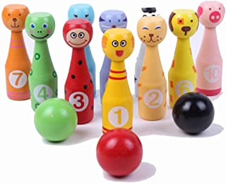 Bowling Action Game Toys Of Wood Oxford Wooden Skittles For Children -Wooden Skittle Set Animal Faces 12 Pieces Large Size - Wooden Toys 2 Year Old Bowling Toy Set Indoor or Outdoor Games