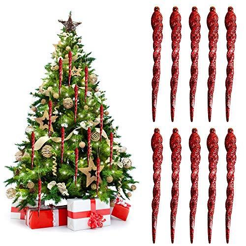 WELLXUNK® Weihnachtsbaum Eiszapfen, 25pcs Weihnachtsbaumschmuck Klarglas Eiszapfen Tropfen Ornamente Glitzer Weihnachten Eiszapfen Weihnachts Party Dekorationen