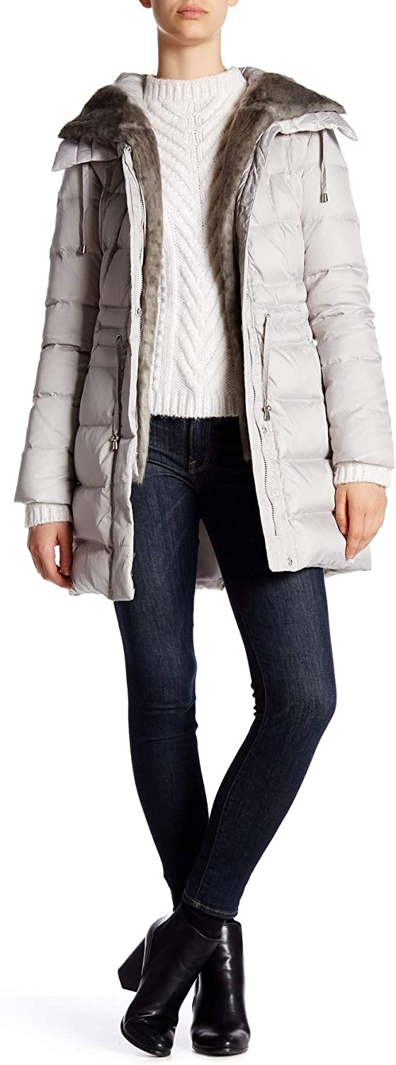 LAUNDRY BY SHELLI SEGAL Hooded Quilted Faux Fur Trim Down Coat, Pebble, Small