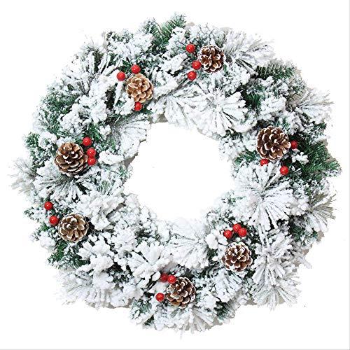 ZHENGXIN Flocking Christmas Garland,Rattan Maple Leaf Crown 50cm Flocking Christmas Garland Cedar Pine Cone Vine Circle Garland Christmas Window Decoration Props