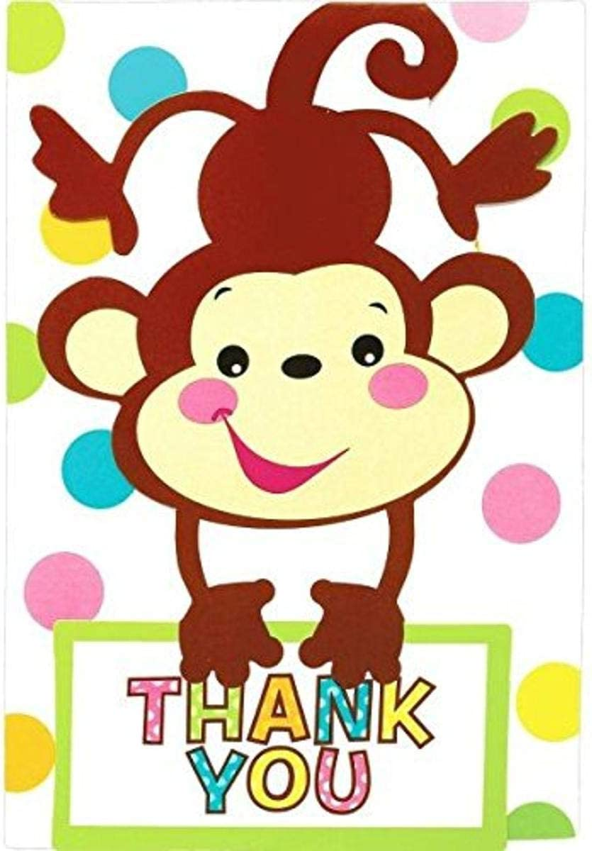 Amazon Com Amscan Adorable Fisher Price Baby Shower Party Playful Monkey Folded Thank You Card Paper 3 X 5 5 9 Pack Of 8 Office Products
