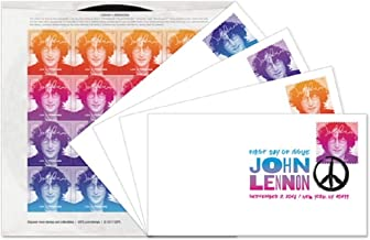 John Lennon Commemorative Forever Postage Stamps by USPS (Sheet of 16 + Official First Day Cover with DCP)
