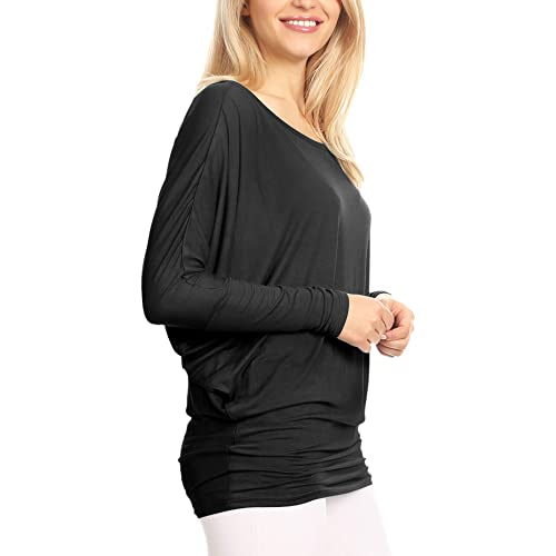 580a11e92556 Lock and Love Women' s Flowy and Comfort Draped Long Sleeve Batwing Dolman  top S