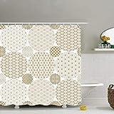 N / A Modello giapponese Oro sfondi geometrici Trame Tessuto arredo bagno Set con ganci
