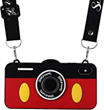 iPhone Xs Max Case Camera Design, Umiko 3D Cute Cool Soft Silicone Cartoon Disney Mickey Mouse Case with Adjustable Neck Strap and Ring Holder Gift for iPhone Xs Max Girls Teens Kids Boys Women