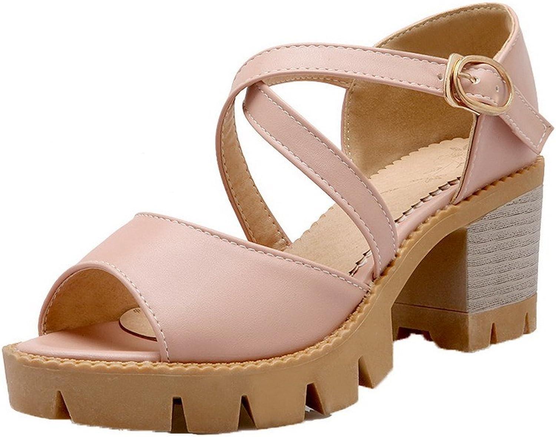 AmoonyFashion Women's Solid PU Kitten-Heels Open Toe Sandals