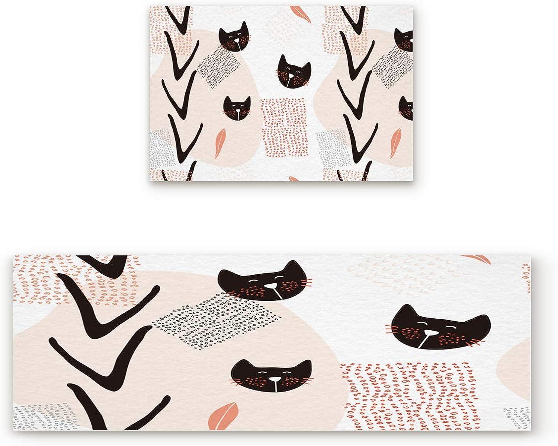Aomike 2 Piece Non-Slip Kitchen Mat Rubber Backing Doormat Modern Fashion Cat Runner Rug Set, Hallway Living Room Balcony Bathroom Carpet Sets (23.6  x 35.4 +23.6  x 70.9 )