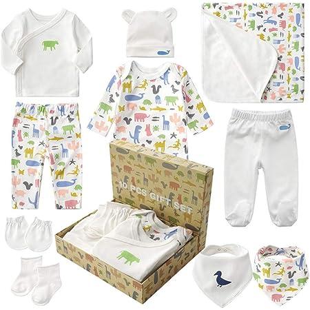 出産祝い 男の子 女の子 ギフトセット 10点 新生児 服 赤ちゃん ベビー用品 出産準備 ベビー帽子 肌着服 おくるみ パンツ ロンパース 手袋 靴下 よだれ掛け コットン 綿 100% 身長50-60cm 新生児から 3ヶ月前後まで