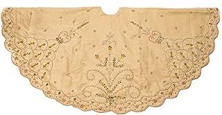 Kurt Adler 48-Inch Gold Polyester Treeskirt with Handwork Details