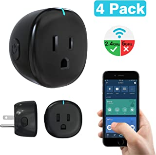 MoKo Wifi Smart Plug, [4 Pack] Mini Wifi Outlet Mini Socket Work with Alexa Echo, Google Home & IFTTT, APP Remote Control Timer Plug, 10A Only Supports 2.4GHz Network No Hub Required, Black