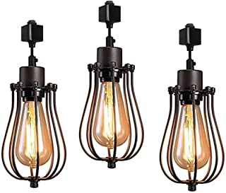 Kiven H-Type Track Lighting Mini Vintage Edison Hanging Caged Pendant Light Fixture for Home Kitchen Lighting,3-Pack