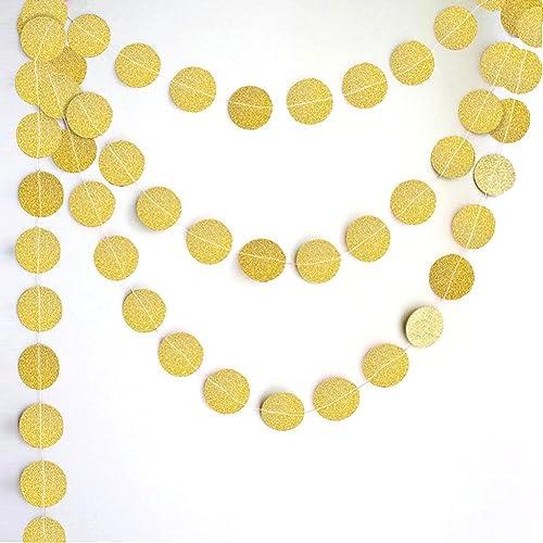 Peicees Lot de 4Doré Cercle Pois Paillettes papier Guirlande à suspendre pour décoration de fête d'anniversaire de mariage