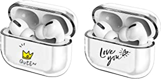 [2Pack] Crystal Clear Protective TPU Cover Compatible with Apple AirPods Pro Wireless Charging Case,[LED Visible] Shockproof,Cute Smooth TPU Hard PC Transparent Skin Accessories Fun Cases-Queen+Love