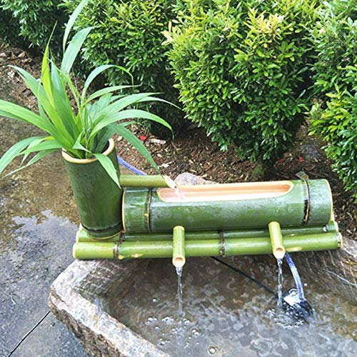 Bamboo Fountain Decor Water Spout with Pump, Garden Handmade Fountain Sculptures Statues Arts Crafts Flowing Waterfall Outdoor Japanese Garden Feature,60cm+7w