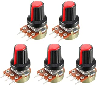 uxcell® 5Pcs 1K Ohm Variable Resistors Single Turn Rotary Carbon Film Taper Potentiometer with Knobs