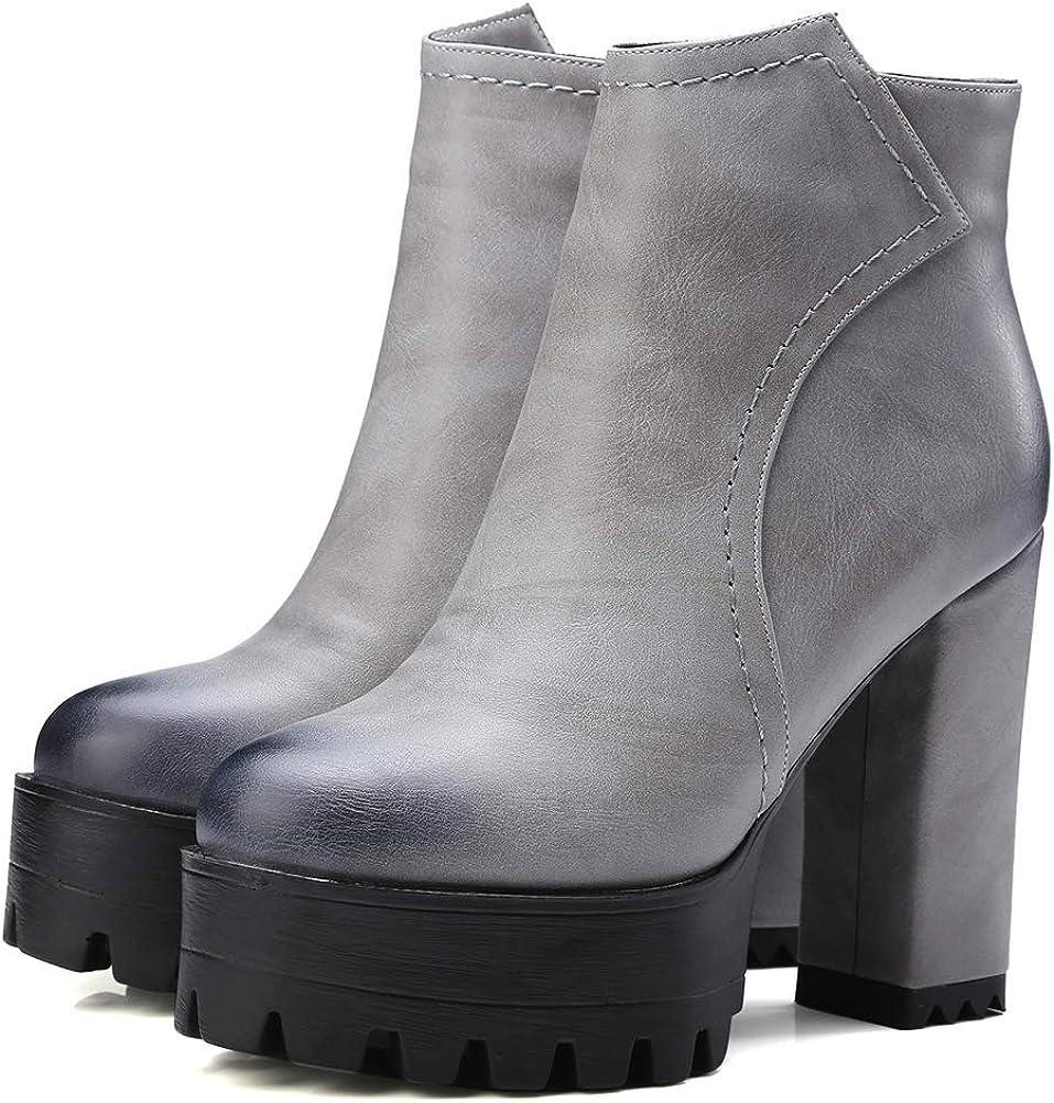 Vimisaoi Max 65% OFF Max 59% OFF Women's Vintage Platform Boots Ank Zip Block Heel High