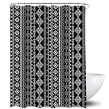 Homewelle Tribal Shower Curtain Chic Black and White Stripes Ethnic Geometric Boho Nordic Vintage Luxury Traditional African Abstract 60Wx72H Waterproof 12 Pack Hooks Polyester Fabric Bathroom Bathtub
