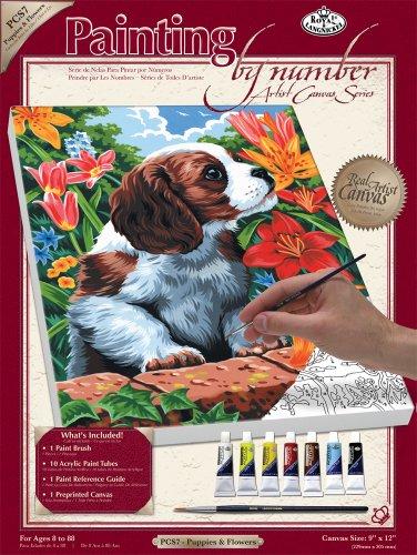 Royal & Langnickel PCS7 Séries Peinture d'après les chiffres Toile d'artiste Chiot/Fleurs Petit