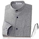 (エムアイジェイ)mij 日本製 亀田縞 スタンドカラーシャツ グレー NT-0005 (L, グレー)