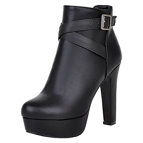 3f2f0d9ab15 Onewus Women Ankle Boots with High Heel and Thick Platform for Fashion Women  Large Size Short