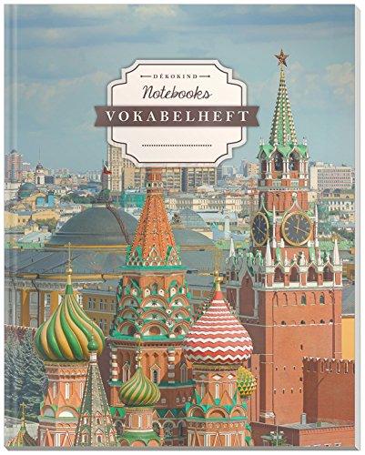 DÉKOKIND Vokabelheft | DIN A4, 84 Seiten, 2 Spalten, Register, Vintage Softcover | Dickes Vokabelbuch | Motiv: Moskau