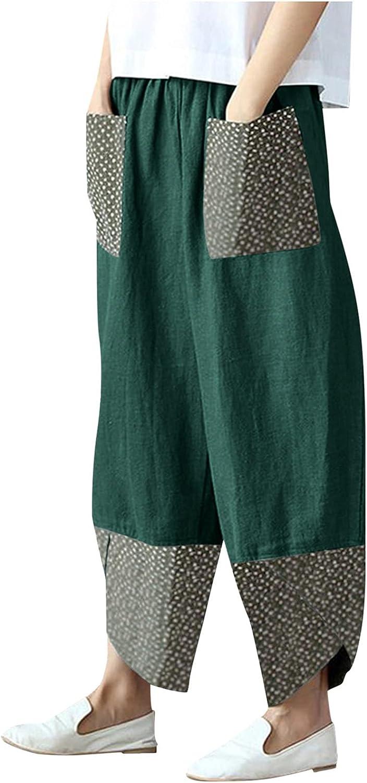 LEIYAN Womens Linen Pants Casual Splicing Printed Bohemian Pants Elastic Waist Loose Fit Cotton Beach Yoga Trousers
