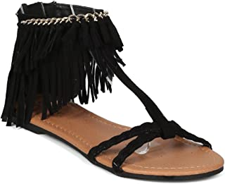 Women Faux Suede Open Toe T-Strap Chained Fringe Flat Sandal - HK68 Qupid