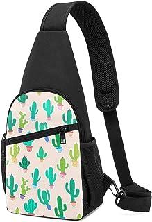 Bonito cactus en maceta sobre fondo rosa sin costuras, mochila ligera para el hombro, bolsa cruzada, bolsa de viaje, sende...