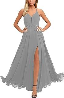 XSWPL Vestido Largo de Gasa con Escote en V para Dama de Honor, Formal
