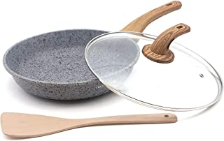 Indoor Ultima 11-inch Earth stone/granite frying pan, everyday nonstick deep pan (100% PFOA and APEO Free) with glass lid and wooden shovel (Set of 3 piece)
