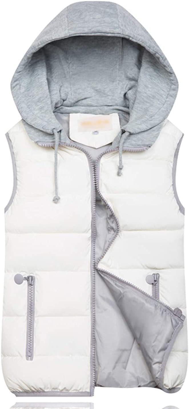 PEHMEA Women's Padded Vest Slim Zip Sleeveless Quilted Puffer Jacket With Removable Hood
