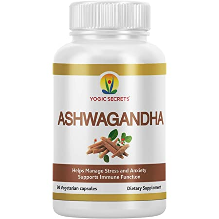 Pure Ashwagandha Extract Natural Anxiety & Stress Relief, Improve Sleep Quality, Supports Immune System & Muscle Function, Thyroid, Cortisol & Adrenal Support, by Yogic Secrets (90 Capsules)