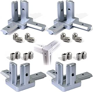 Boeray 3-Way End Corner Bracket Connector for European Standard Aluminum Extrusion Profile 2020 Series Pack of 4 with Screws