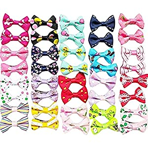 Chenkou Craft 40pcs/20pairs New Dog Hair Bows with Clips Pet Grooming Products Mix Colors Varies Patterns Pet Hair Bows Dog Accessories (Bow with Clip)