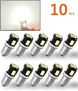 TORIBIO 12V Bright 5630 6 Chipsets BA9 BA9S 53 57 1895 1815 64111 LED Bulbs Used For Side Door Courtesy Lights Map Lights,Xenon White 10pcs