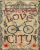 LINQWkk Freedom City Amsterdam Travel Advertisement - Cartel de metal retro para decoración del hogar, sala de estar, cocina, baño 20 x 30 cm