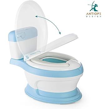 Antiope Design Azzurro Vasino 2a Generazione Toilette WC Vasetto Bimbo Bimba Bambini Portatile Anatomico Coperchio Ergonomico da Viaggio