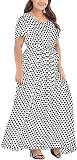 zhbotaolang Women Vintage Long Maxi Dress - Ladies Polka Dot Short Sleeve Plus Size Gown