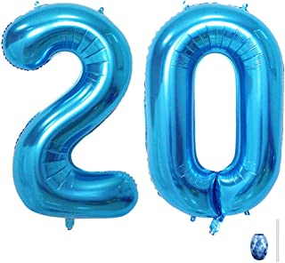 Huture 40 Inches Blue Jumbo Digital Number Balloon Huge Giant Balloon Foil Mylar Balloons for Birthday Party Wedding Bridal Shower Engagement Photo Shoot Anniversary, Number 20 Blue Balloon