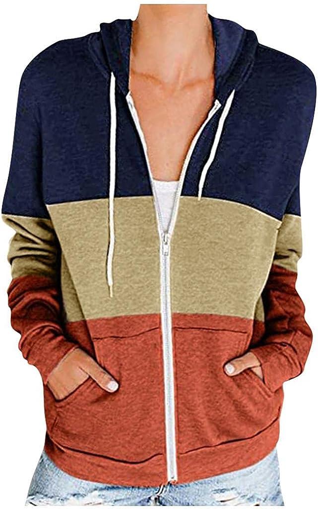 Hoodies for Women,Women Casual Stripe Sweatshirts Zip Up Teen Girls Crop Tops Blouse Pullover Hooded