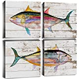 Sea Fish Wall Art Home Decor Canvas Prints Bathroom Decoration Watercolor Ocean Theme Marine Life Colorful Tuna Wood Decorative Picture Modern Framed Artwork Living Room Bedroom 12x12 Inch 4 Pieces