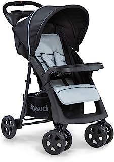 Hauck Shopper Neo II Buggy bis 25 kg mit Liegefunktion ab Geburt, klein zusammenfaltbar, Einhand-Faltmechanismus, leicht, 2 Getränkehalter, großer Korb, Caviar Silber/Grau