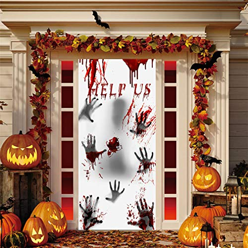 #N/A Rinclhu Blutige Handabdruck Wandaufkleber Horror Fenster Poster Halloween Dekorationen Aufkleber