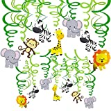 Supla 30 pcs Jungle Animals Hanging Swirl Decorations Green Safari Party Forest Animal Theme Supplies for Baby Shower Kids 1st Birthday Nursery School Classroom Bedroom Bathroom Table Ceiling Decor